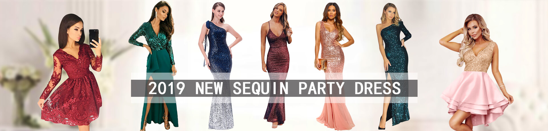 2019 New Sequin Party Dress