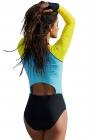Hourglass Accent Long Sleeve Rashguard Teddy Swimsuit