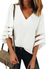 White Flare Sleeve V Neck Loose Blouse