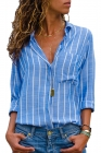 Sky Blue Striped Roll Tab Sleeve Button Shirt