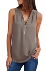 khaki Zip Neckline Sleeveless Shirt Tank