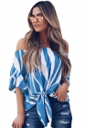 Off The Shoulder Vertical Stripes Blouse in Blue