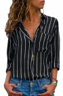Black Striped Roll Tab Sleeve Button Shirt