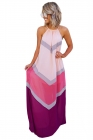 Pink Chevron Color Block Halter Neck Maxi Dress