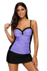 Purple Black Ruched Tankini and Skirted Swimsuit