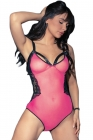 Rosy Crotchless Strappy Lace Teddy Lingerie