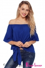 Blue Off The Shoulder Knot Front Top