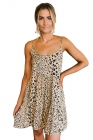 Apricot Tiered Leopard Babydoll Dress