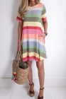 Purple Striped Color Block Casual T-Shirt Dress