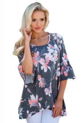 Mid Length Bell Sleeve Charcoal Floral Tunic