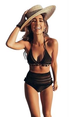 f1a46c1935b Black Pom Pom Mesh Insert High Waist Bikini