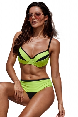 Yellow Colorblock Push up Bikini