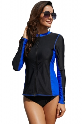 Royal Blue Detail Zip Front Long-Sleeve Rashguard Top