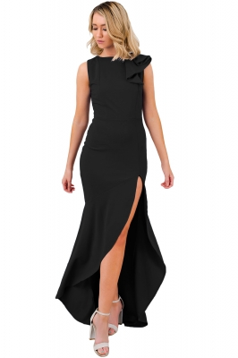 Black Asymmetric Ruffle Detail Side Slit Party Dress