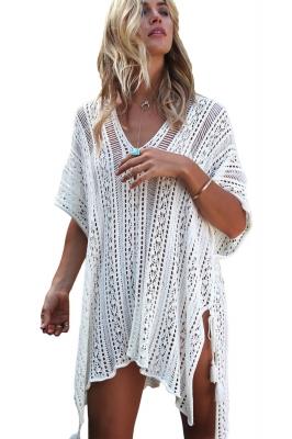 34eb5273f6719 White Crochet Knitted Tassel Tie Kimono Beachwear LC42183-1. US$ 7.90