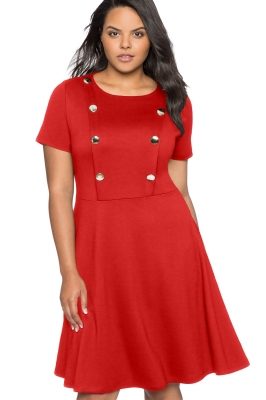 Red Button Front Fit and Flare Plus Size Dress