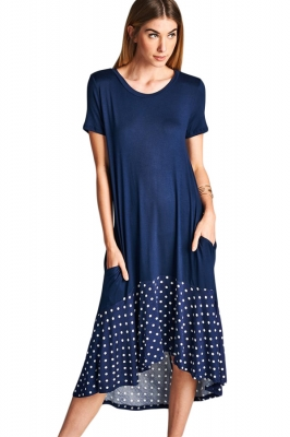 Navy Hi-low Dotted Ruffle Hem Midi Dress