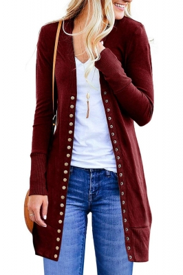 Claret Long Sleeve Snap Button Down Knit Ribbed Neckline Cardigans