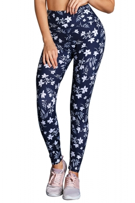 White Floral High Waist Yoga Leggings in Navy