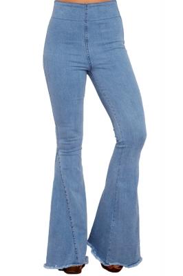 DARK Blu Denim Vita Sacchetto di carta Orlo Consumato Jeans