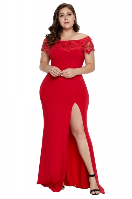 Red Off Shoulder Plus Size Prom Dress