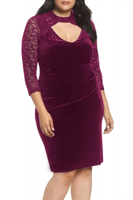 Black/Burgundy Velvet & Glitter Lace Plus Size Sheath Dress