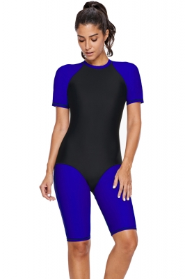 Blue Black Colorblock Surfing Sport Suit