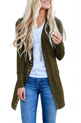 Green Long Sleeve Snap Button Down Knit Ribbed Neckline Cardigans