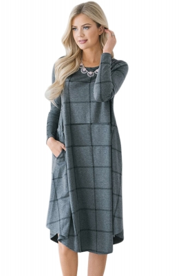 Charcoal Checked Long Sleeve Casual Midi Dress