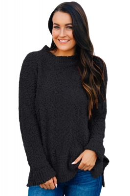 Black Cozy Fall Popcorn Pullover Sweater