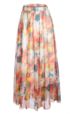 Orange Painting Floral Chiffon Maxi Skirt