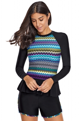 Multicolor Zigzag Accent Rashguard and Shorts