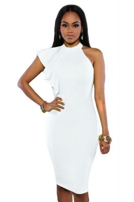 777d71612 White One Shoulder Ruffle Sleeve Midi Dress