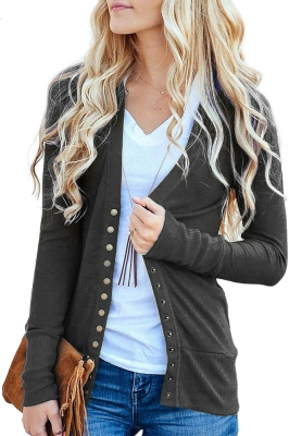 Gray Long Sleeve Snap Cardigan