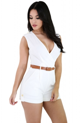 White Buckle Up Stylish Summer Romper