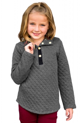 Gray Toddlers Monogrammed Quilted Pullover Tunic