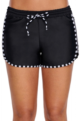 Zebra Striped Detail Black Boxer Short Swim Bottom