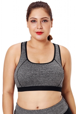 Gray Piping Trim Racerback Workout Bra
