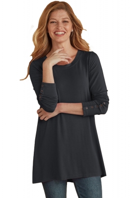 Black Classic Long Sleeve Tunic with Buttoned Cuffs