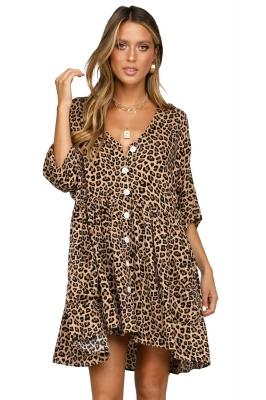 3970da146 Vestido de manga corta con cuello en V y estampado de leopardo