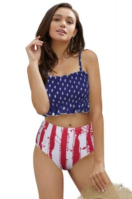 5ece5f65d Flag Print High Waist Printed Smocked Bikini