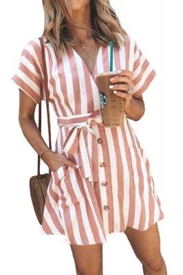 501e62123 Vestido informal de manga corta a rayas en color rosa de moda LC220718-14
