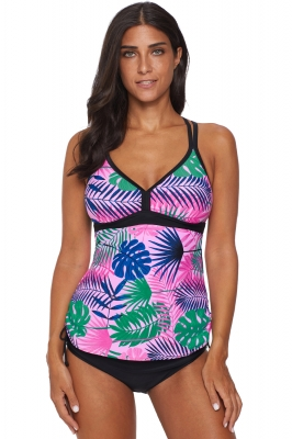 Green Tropical Print Cut out Tankini Swimsuit