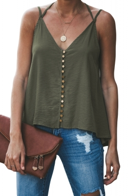 Green Good To Button up Cami Tank