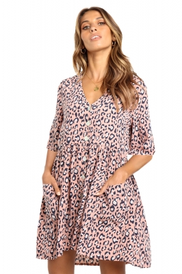 Pink Leopard Print V Neck Button Half Sleeves Swing Dress
