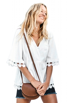 White Lace Trim Elbow Sleeve Jersey Tunic Top