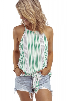 Green Stripe Sleeveless Cami Top