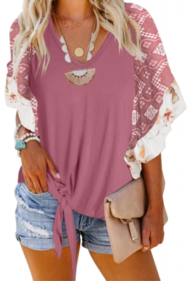 Red Fashion Casual Short Sleeved Printed Top T-Shirt