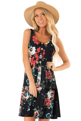 Black Floral Print Sleeveless Button up Dress