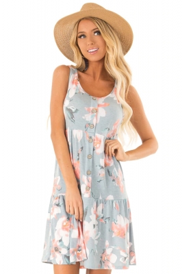 Gray Floral Print Sleeveless Button up Dress